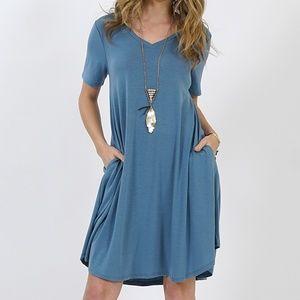 Titanium Crewneck SS Curved-Hem Pocket Dress